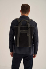 Oroton Oroton X Hemp Black Backpack in Black and Body material: 100% Hemp canvas fabric with Faux Leather Hemp Black infused trims, with anti-bacterial technology for female