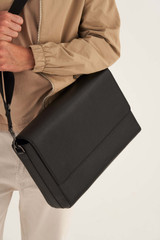 Oroton Weston Satchel in Black and Pebble Leather for male