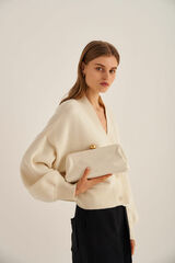 Oroton Nova Clutch in Clotted Cream and Smooth Leather for female