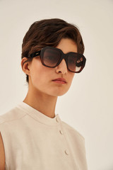 Oroton Quinn Sunglasses in Chocolate Tort and Acetate for female