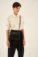 Oroton Oroton X Hemp Black Crossbody in Black and Body material: 100% Hemp canvas fabric with Faux Leather Hemp Black infused trims, with anti-bacterial technology for female