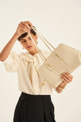 Oroton Willow Day Bag in Vanilla and Smooth Leather for female