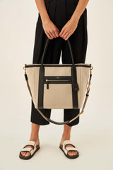 Oroton Oroton X Hemp Black Tote in Natural and Body material: 100% Hemp canvas fabric with Faux Leather Hemp Black infused trims, with anti-bacterial technology for female