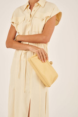 Oroton Nova Clutch in Butter and Smooth Leather for female
