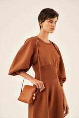 Oroton Willow Square Crossbody in Maple and Smooth Leather for female