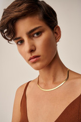 Oroton Peyton Flat Snake Chain in Gold and Brass Base Metal With Precious Metal Plating for female