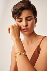 Oroton Sophie Coral Hoops in Worn Gold/White and Brass Base Metal With Precious Metal Plating/Resin for female