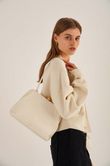 Oroton Nova Day Bag in Clotted Cream and Smooth Leather for female