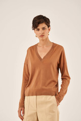 Oroton Long Sleeve V-Neck Knit in Hazel and 100% Wool for female