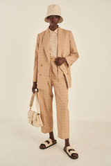 Oroton Check Pleat Pant in Camel and 100% Polyester for female