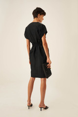Oroton Belted Shirt Dress in Black and 86% Viscose 14% Nylon for female