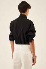 Oroton Zip Front Shirt in Black and 75% Viscose 25% Polyester for female