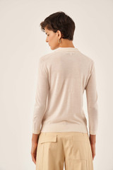 Oroton 3/4 Sleeve Polo in Bone and 100% Wool for female