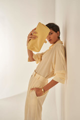 Oroton Fluid Pleat Pant in Pale Saffron and 100% Polyester for female