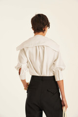 Oroton Silk Scarf Blouse in Antique White and 100% Silk for female
