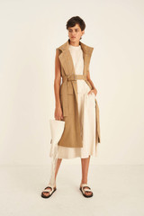 Oroton Sleeveless Sculpture Dress in Bone and 58% Viscose 42% Linen for female