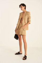 Oroton Tailored Short in Deep Wheat and 81% Viscose 17% Cotton 2% Elastane for female