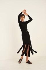 Oroton Knit Fringe Skirt in Black and 77% Viscose 23% Polyester for female