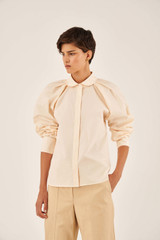 Oroton Cotton Tucked Shirt in Vanilla and 100% Cotton for female