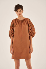 Oroton Rouched Sleeve Taffeta Dress in Maple and 100% Polyester for female