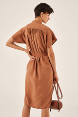 Oroton Tab Detail Dress in Hazel and 15% Polyester, 85% Modal for female