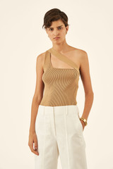 Oroton Rib Knit Asymmetric Tank in Dark Putty and 83% Viscose 17% Polyester for female