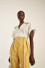 Oroton Tab Detail Pant in Saffron and 77% Cotton 23% Linen for female