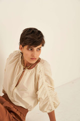 Oroton Rouched Sleeve Taffeta Blouse in Bone and 100% Polyester for female