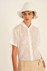 Oroton Embroidered Shirt in Antique White and 70% Cotton 30% Silk for female