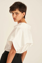 Oroton Short Sleeve Boxy Top in White and 100% Cotton for female
