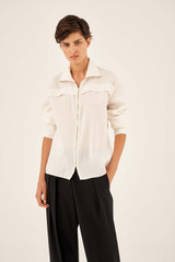 Oroton Zip Front Shirt in Fresh Cream and 75% Viscose 25% Polyester for female