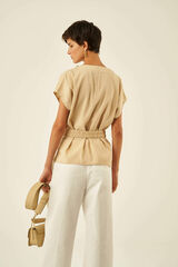 Oroton Belted Tunic in Dark Putty and 75% Viscose 25% Polyester for female