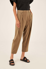 Oroton Pleat Pant in Tobacco and 84% Wool 12% Nylon 4% Lycra for female