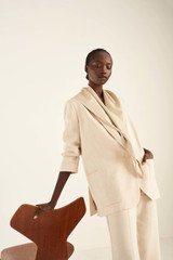 Oroton Blazer with Belt in Bone and 58% Viscose 42% Linen for female