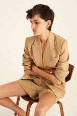 Oroton Fitted Blazer in Deep Wheat and 81% Viscose 17% Cotton 2% Elastane for female