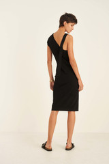 Oroton Asymmetric Knit Dress in Black and 77% Viscose 23% Polyester for female