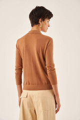 Oroton 3/4 Sleeve Polo in Hazel and 100% Wool for female