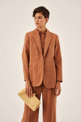 Oroton Belted Blazer in Hazel and 15% Polyester, 85% Modal for female