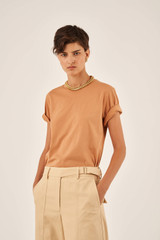 Oroton Short Sleeve Basic Tee in Hazel and 100% Cotton for female