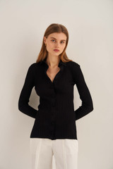 Oroton Rib Knit Polo in Black and 77% Viscose 23% Polyester for female