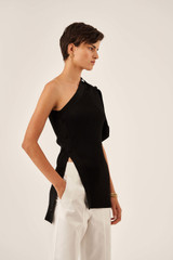 Oroton Asymmetric Knit Cardi in Black and 77% Viscose 23% Polyester for female