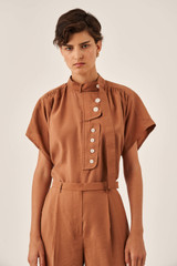 Oroton Tab Detail Blouse in Hazel and 15% Polyester, 85% Modal for female