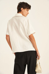 Oroton Collar Detail Blouse in White and 100% Linen for female
