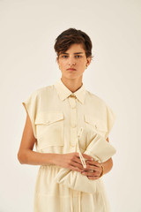 Oroton Drawstring Dress in Pale Saffron and 100% Polyester for female