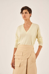 Oroton Long Sleeve V-Neck Knit in Pale Saffron and 100% Wool for female
