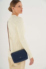 Oroton Harriet Crossbody in Indigo and Saffiano Leather With Smooth Leather Trim for female