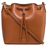 Oroton Harriet Small Bucket Bag in Cognac and Saffiano Leather With Smooth Leather Trim for female