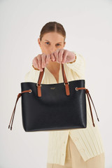 Oroton Harriet Mini Tote in Black and Saffiano Leather With Smooth Leather Trim for female