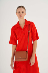 Oroton Harriet Crossbody in Cognac and Saffiano Leather With Smooth Leather Trim for female