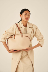 Oroton Harriet Medium Tote in Praline and Saffiano Leather With Smooth Leather Trim for female